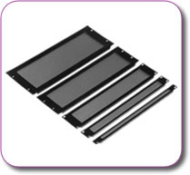 1/2U Rack Mount Vented Panel Black Powder Coated Steel
