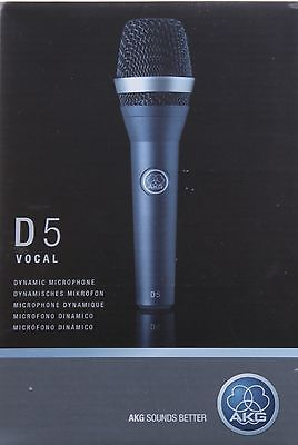 AKG D5 Professional Dynamic Vocal Microphone Includes Mic Clip and Zip Bag