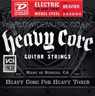DUNLOP HEAVY CORE ELECTRIC GUITAR STRINGS .011 - .050