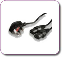 Mains Plug IEC 'Y' Splitter Lead Cable Stage Lighting