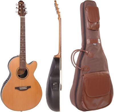 Vintage Pilgrim Electro Acoustic Guitar Natural Finish